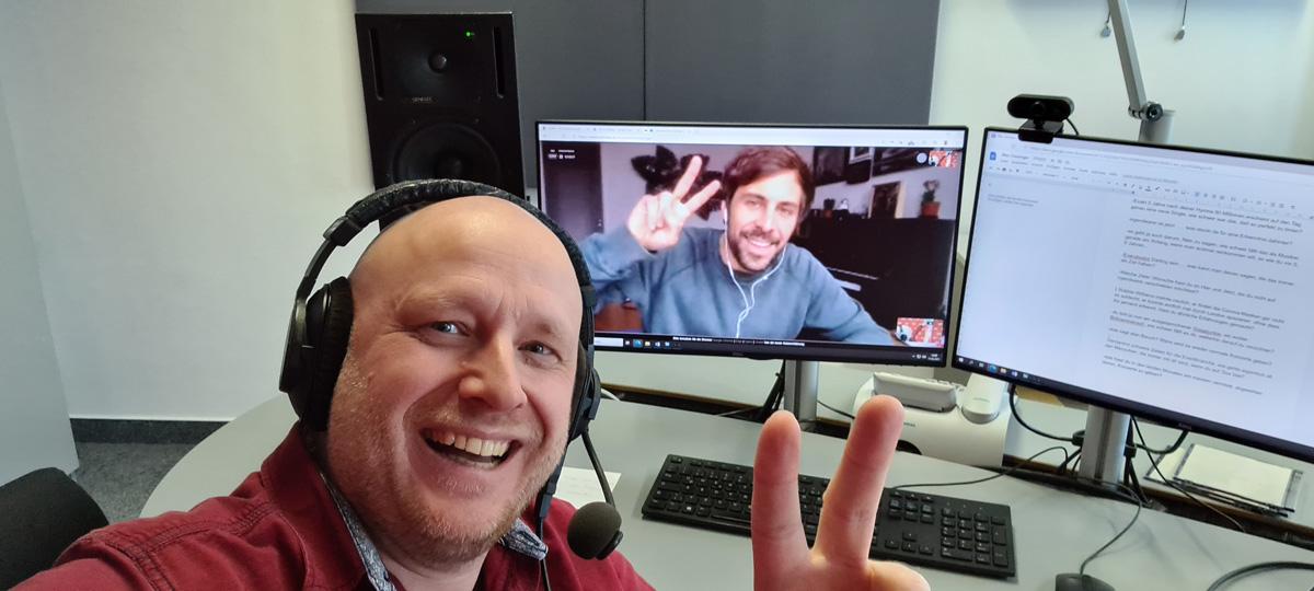 Ingolf Kloss beim Video-Call mit Max Giesinger