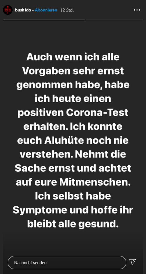 Bushido zu seiner Corona-Erkrankung auf Instagram.