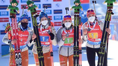 Die deutsche Biathlon-Damenstaffel mit WM-Silber