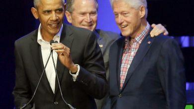 Die ehemaligen US-Präsidenten Barack Obama, George W. Bush und Bill Clinton