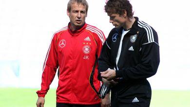 Damaliger Torwart Jens Lehmann zusammen mit dem damaligen Bundestrainer Jürgen Klinsmann