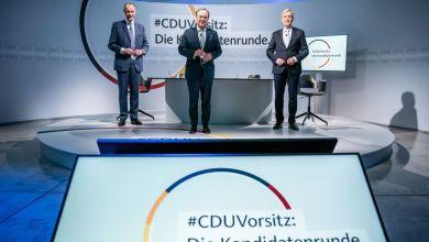 Die drei Kandidaten für den CDU-Parteivorsitz Friedrich Merz (l-r), Armin Laschet und Norbert Röttgen