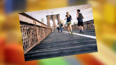 Joggende Menschen auf einer Brücke