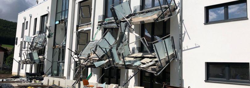 Beschädigter Neubau in Blumberg