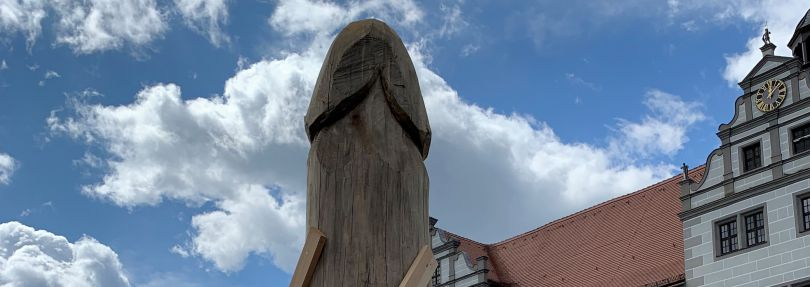 Spargel Holzskulptur in Torgau