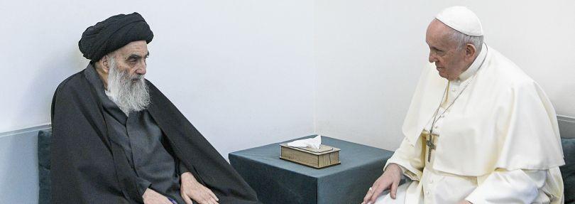 Papst Franziskus und  Großajatollah Ali al-Sistani