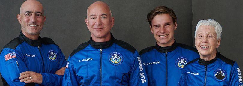 Mark Bezos, Jeff Bezos, Oliver Daemen, Wally Funk