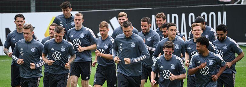 Die deutsche Fußball-Nationalmannschaft beim Training
