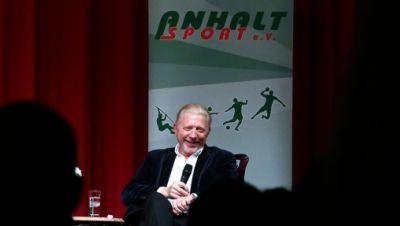 Boris Becker im Golf-Park Dessau auf der Bühne