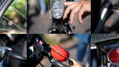 Illustration: Verschiedene Sicherheitsaspekte an einem Fahrrad