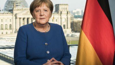 Angela Merkel (CDU) aufgenommen bei der Aufzeichnung einer Fernsehansprache